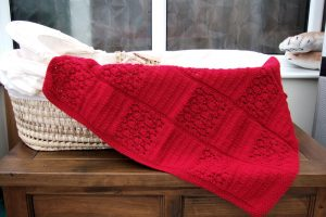 Hand Knitted Baby Blanket in Red