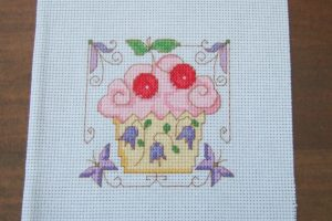 Completed Cross Stitch - Cherry Cupcake