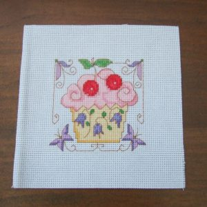 Completed Cross Stitch A Cherry Cupcake
