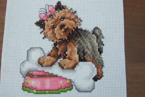 Completed Cross Stitch - Cute Yorkshire Terrior