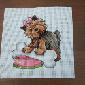 Completed Cross Stitch A CUTE YORKSHIRE TERRIOR