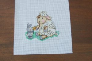 Completed Cross Stitch - Sheep and Bunny