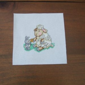 Completed Cross Stitch SHEEP & BUNNY