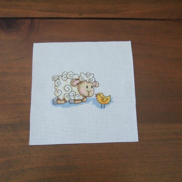 Completed Cross Stitch - Sheep and Chick