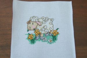 Completed Cross Stitch - Sheep with daffodils