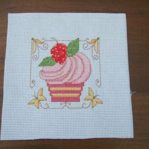 Completed Cross Stitch STRAWBERRY CUPCAKE