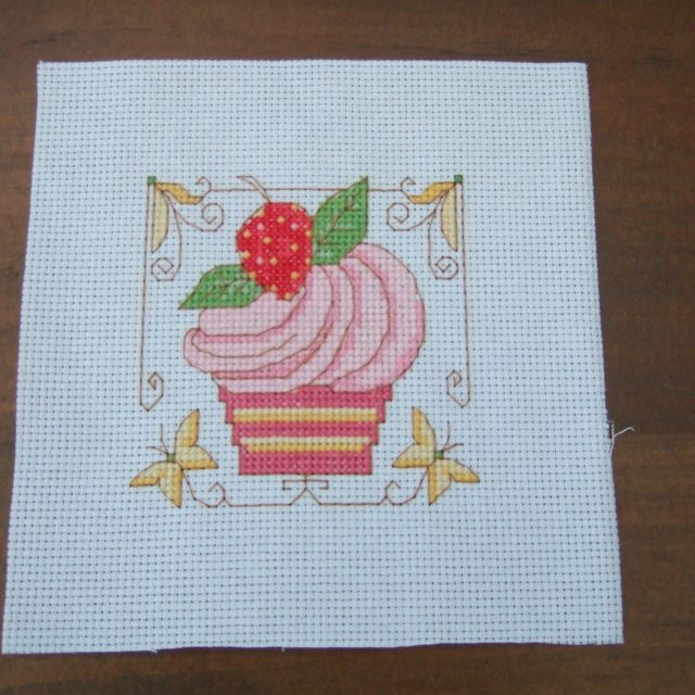 Completed Cross Stitch - Strawberry Cupcake
