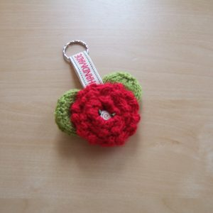 Hand Knitted Key Ring with Metal Ring
